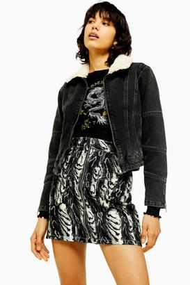 Topshop Womens Idol Washed Black Borg Lined Denim Jacket - Washed Black