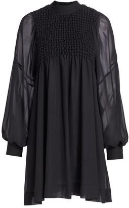 Ganni Smocked Chiffon Dress