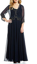 J Kara Crew Neck Beaded Chiffon Jacket Dress
