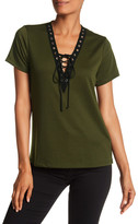Vanity Room Lace Up Knit Tee
