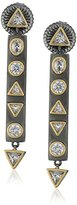 Freida Rothman Two Tone Geometric Stone Bar Drop Earrings
