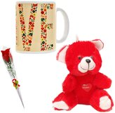 Indian Handicrafts Buy Festive Gift Teddy Soft Toy, Red Rose & Coffee Mugs