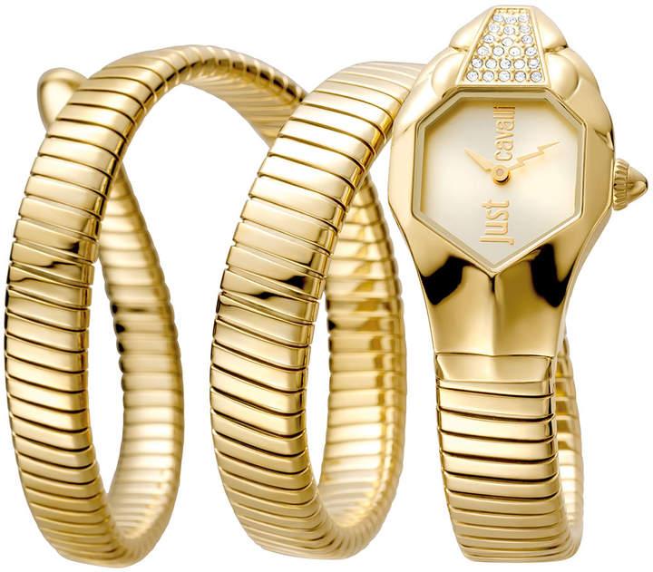 Just Cavalli 22mm Glam Chic Coil Bracelet Watch, Yellow Golden