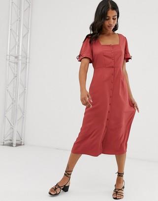 Vero Moda button front square neck midi dress-Pink