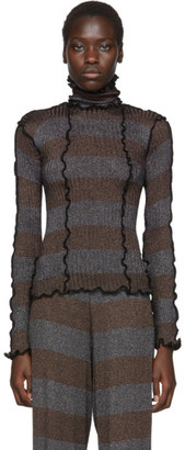 ASAI Blue and Brown Lurex Turtleneck