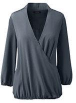 Classic Women's Petite Three Quarter Sleeve Wrap Soft Blouse-Gray