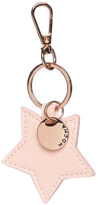 Mocha Initial Star Saffiano Keyring - Pink