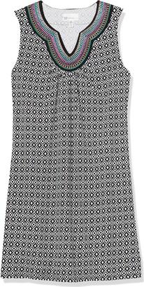 Rafaella Women's Petite Diamonte Geo Print Sleeveless Dress with Embroidery