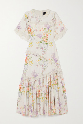 Needle & Thread Elsa Lace-trimmed Floral-print Broderie Anglaise Crepe Dress - Ivory