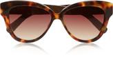 Linda Farrow Cat eye tortoiseshell acetate and glossed-elaphe sunglasses