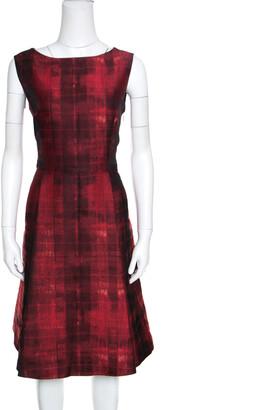 Carolina Herrera Red and Black Abstract Pattern Jacquard Sheath Dress L
