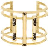 House Of Harlow Pave Hematite Open Art Deco Cuff Bracelet