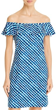 Tommy Bahama Gingham Ruffled Off-The-Shoulder Cover-Up Dress