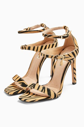 Topshop Womens Relish Tiger Double Strap Heels - Multi