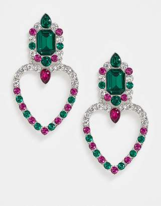 Topshop Freedom At Freedom at embellised statement heart earrings in emerald and pink crystal-Multi