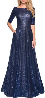 La Femme Sequin Elbow-Sleeve A-Line Gown w/ Pockets