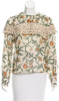 Suno Ruffle-Trimmed Floral Print Blouse