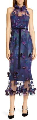Marchesa Floral Applique Halter Tulle Cocktail Dress