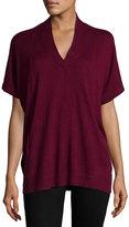 Neiman Marcus Silk-Cashmere Short-Sleeve Pullover Top, Wine