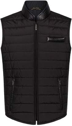 Zilli Crocodile Trim Quilted Gilet