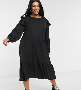 Wednesday's Girl Curve midi dress with frill detail