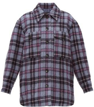Isabel Marant Harvey Checked Brushed-wool Overshirt - Womens - Blue Multi