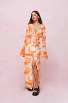 Thumbnail for your product : Nasty Gal Womens Chiffon Tie Dye Print Belted Maxi Dress - Orange - 4