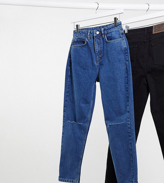 Reclaimed Vintage inspired The 91' mom jean with knee rip in dark stone wash