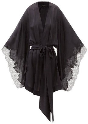 Carine Gilson Lace-trimmed Silk-satin Short Robe - Black
