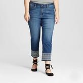 Earl Jean Women's Plus Size Embroidered Hem Cropped Denim Pant Blue