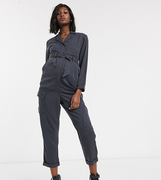 Topshop Maternity boilersuit with belt in washed black