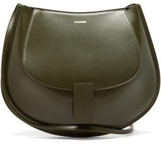 Jil Sander Crescent Smooth-leather Shoulder Bag - Womens - Khaki