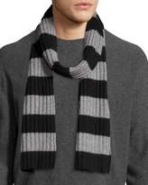 Portolano Wool-Blend Striped Scarf, Black/Gray