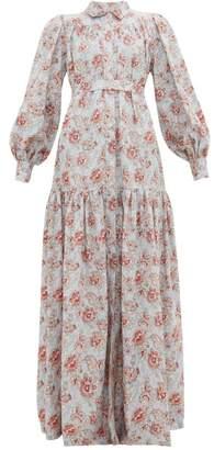 Evi Grintela Elsa Floral-print Cotton Maxi Shirtdress - Womens - Light Blue
