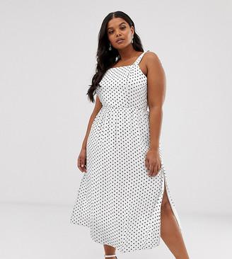 Wild Honey Plus tie shoulder maxi dress with shirring in spot-White