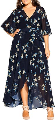 City Chic Akita Floral Wrap Dress