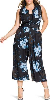 City Chic Bonsai Floral Crop Jumpsuit