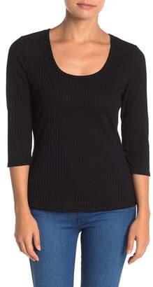 Susina Scoop Neck 3/4 Sleeve Ribbed T-Shirt (Regular & Petite)