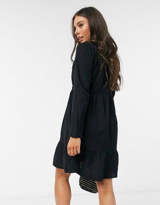 Pimkie v neck poplin dress in black