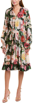 Dolce & Gabbana Floral Silk A-Line Dress