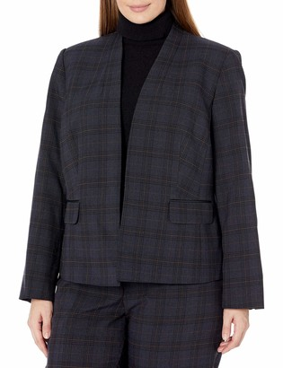 Kasper Women's Plus Size Plaid Collarless Jacket with Scrunch Sleeves