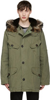 Yves Salomon Green Fur-lined Military Coat