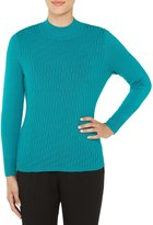 Allison Daley Petites Mock Neck Solid Texture Pullover