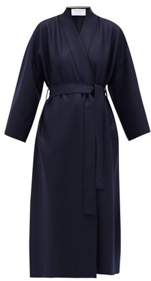 Harris Wharf London Kimono-sleeve Belted Virgin-wool Coat - Navy