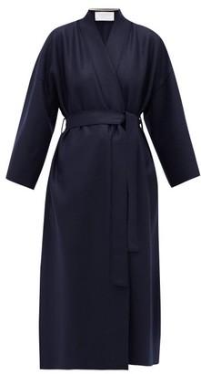 Harris Wharf London Kimono-sleeve Belted Virgin-wool Coat - Womens - Navy