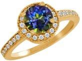 Gem Stone King 1.10 Ct Round Blue Mystic Topaz White Diamond 14K Yellow Gold Ring