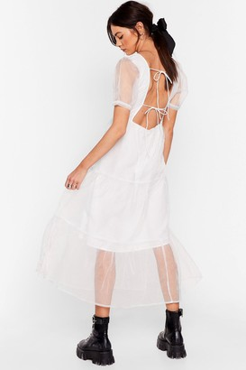 Nasty Gal Womens To Tie For Organza Midi Dress - White - L
