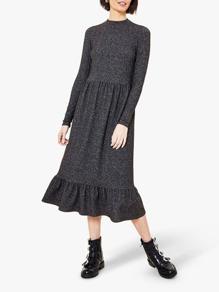 Oasis Cosy Funnel Neck Dress, Dark Grey