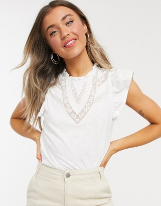 Miss Selfridge high neck embroidered top in white