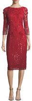 Theia Embellished 3/4 Illusion-Sleeve Sheath Dress